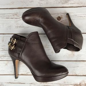 Vince Camuto Brown Leather Heeled Booties